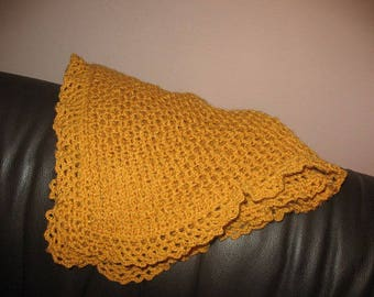 SMALL PLAID blanket cot baby or mustard yellow cradle