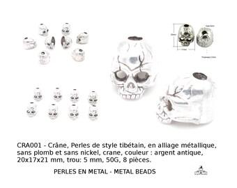 Crâne, skull, Perles de style tibétain, en alliage métallique, sans plomb et sans nickel, couleur : argent antique,