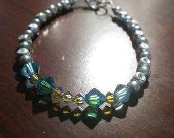 Swarovski Crystal and grey beaded bracelet