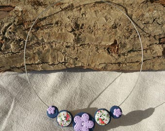 Choker cable (polymer clay + buttons) purple tone