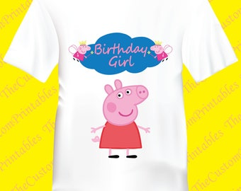 Peppa, Pig, Birthday, Girl, T-shirt. Personalized Family Shirts, Birthday Party, Iron on Transfer, Printable