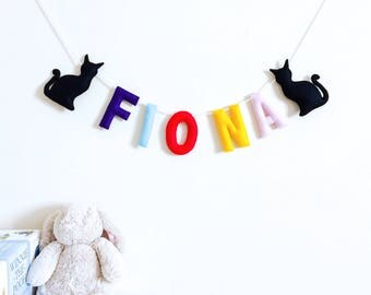 Cat Name Banner | Baby Name Banner | Personalised Name Garland | Nursery Name Banner | Name Bunting | Nursery Bunting | Custom Nursery Sign
