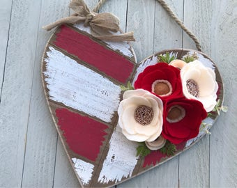 Wood Heart Wall Hanging with Felt Roses, Wood Heart Wall Hanging, Wood Heart Wall Decor, Red Wood Heart with Felt Roses