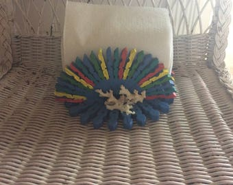 Vintage Tramp Art Napkin Holder, Boho, Tropical Kitsch, Clothes Pins