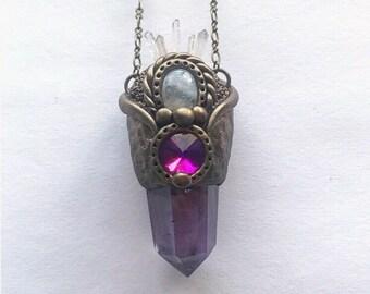 Amethyst Pendant with Rainbow Moonstone & Quartz