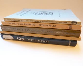 Vintage Antique Reference Books - Antique Glass - Sandwich Glass - Glassmaking - Bottles and Flasks - Glass Collector Guide
