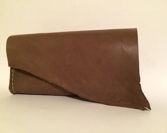 Chocolate Leather Emeny Clutch