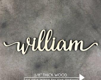 Custom Wood Word Sign, Wooden Name, Custom Laser Cut Wood Name, Nursery Decor, DIY Laser Cut Wood Shapes, lowercase letters
