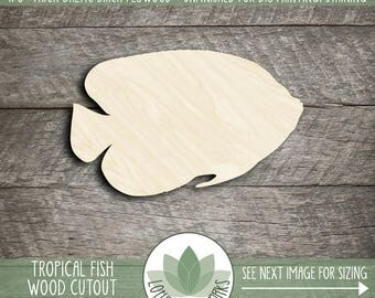 Tropical Fish Wood Cutout, Unfinished Wood Fish Laser Cut Shape, DIY Craft Supply, Many Size Options