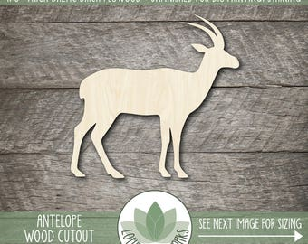 Antelope Laser Cut Wood Shape, Wooden Antelope Cut Out, DIY Crafting Supply, Many Size And Shape Options Available