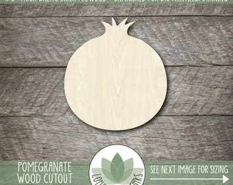 Pomegranate Wood Cut Out, Wooden Pomegranate Laser Cut Shape, Unfinished Wood For DIY Projects, Many Size Options, Sign Making Supplies