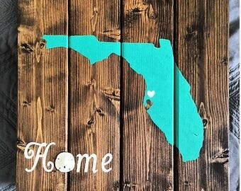Custom Made Wood Florida Home Sign, Sand Dollar, Dark Walnut Stain, Rustic/Coastal Home Sign, Florida decor, Florida Home, Tropical Florida