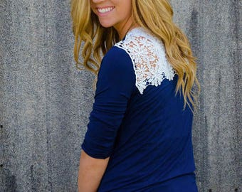 Monogrammed - Navy Spring Top - Crochet Back Panel