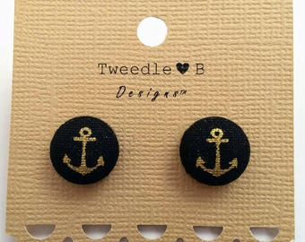 Gold Anchor - Fabric Button Earrings