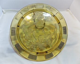 Footed Cake Plate Amber Sharon Cabbage Rose Federal Glass Company 1935-1939 Discontinued
