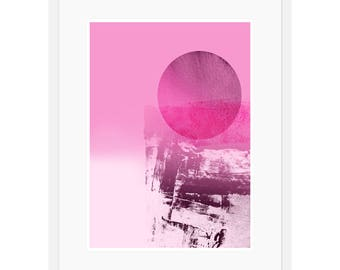 Pink Abstract Art Print by Michael Hunter BA Hons. Abstract Circle Print. Modern Decor Interior Design. Pink Furnishings. Minimalistic Art