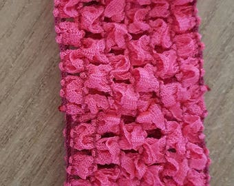 Headband neon pink soft and fine crochet for baby and girls up to 6 years, tutus, dresses, hair accessory