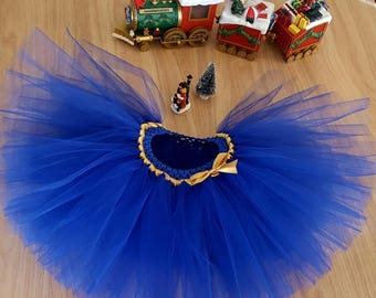 "on sale 27 instead of 35.Jupe tutu ""Sapphire"" blue and gold color 3-4 years special party"