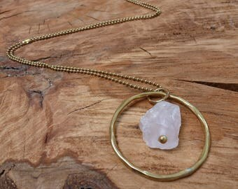 Rose Quartz and Brass Hoop Statement Pendant Necklace