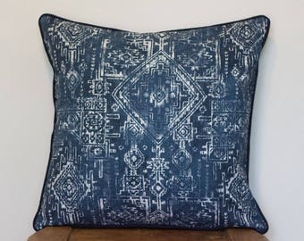 SALE Indian Tribal Cushion in Navy with cotton piping 45 cm square