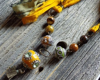 Yellow and Green Necklace With Large Boho Beads, Long Necklace With Sari Ribbon Cord, Tassel Necklace, Boho Jewelry, Boho Necklace