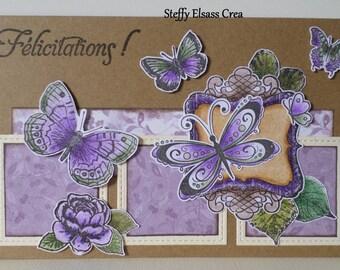 Butterfly purple congratulations card