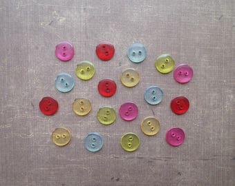 40 transparent buttons mixed colors 1.1 cm