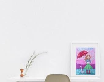 Rain print, Rainy day, rain drop, rain art, home Office decor, home Office, home Office desk, umbrella decorations, rain umbrella, rainy art