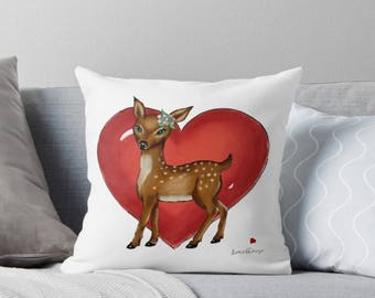 Nursery throw pillow, baby nursery pillow, nursery decor baby animal, nursery decor deer, deer pillow, baby animal pillow, deer decor, fawn