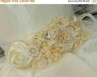 Gorgeous flower girl dress sash,flower girl accessories,bridal gown sash,wedding sash,flower girl sash,rustic ivory flower girl dress sash