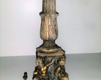 Large heavy Old ornate cast iron lamp cherub brass plated claw feet  DIY needs lamp kit and shade  great project