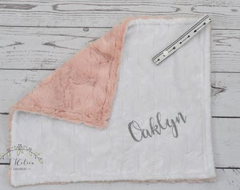 Personalized Taggy Blanket-Taggy with Pacifier Holder-Security Taggie-Pink and White Teething Blanket-Arrow Blanket-Personalized Taggy-Arrow