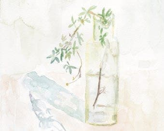 Original Painting Watercolor Art: Still Life With a branch in a glass bottle