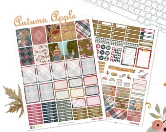 Autumn planner Stickers, Harvest kit, August stickers, For use with Erin Condren, Glam weekly kit, fall printable, September kit, Plaid
