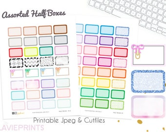 Printable planner stickers, Half boxes, rainbow, glitter boxes, bows, Use with Erin Condren, Happy Planner, Travelers notebook, labels, chic