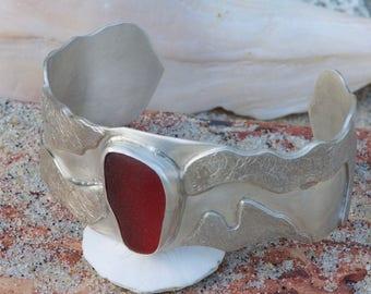 Cranberry Red Sea Glass Sterling Silver Cuff Bracelet