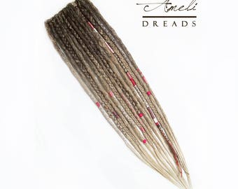 Ready to ship! Ombre dreads, clip in dreads extensions, 14 dreadlocks on a barrettes.
