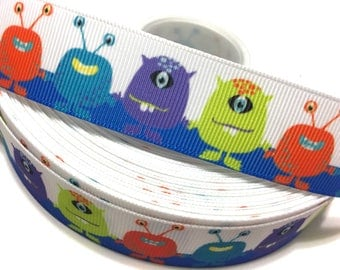 "1"" Monster Ribbon, Alien Ribbon, Monster Grosgrain Ribbon, Monster Printed Ribbon, Alient Grosgrain Ribbon, Craft Supplies, Birthday Supply"
