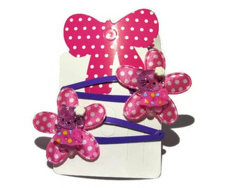 2 hair clips / flowers and pink Teddy bear hair clips / hair girl all occasion