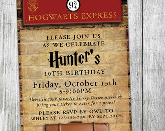 Hogwarts Express Birthday Party Invitation - Custom Harry Potter Invitation - Platform Nine and Three-Quarters - Hogwarts - Kings Crossing