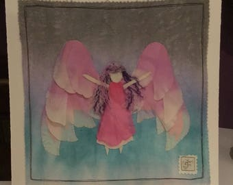 Pink angel, mixed media picture
