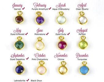 Birthstone pendant etsy add on birthstone bezel round charm to any necklace or bracelet gemstone charm small aloadofball Choice Image
