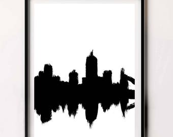 Abstract City Scape, Large Wall Art, Abstract Painting, Black and White Painting, Digital Download