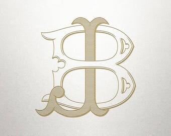 Wedding Initials Logo - BJ JB - Wedding Initials - Vintage
