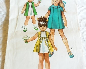 1970's Simplicity #8713, Childs Dress Size 2 Breast 21