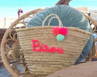 Large tote personalized (straw handles)