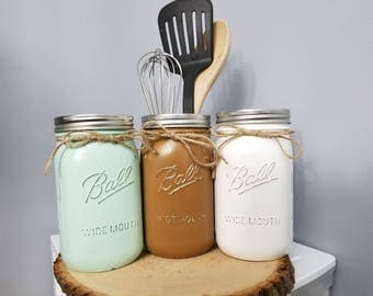 3pc Mason Jar Utensil Holder