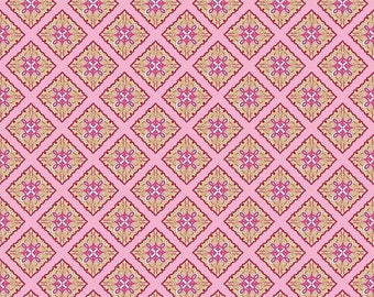 Sale Primavera Tile in Pink Cotton Fabric by Patty Young for Riley Blake