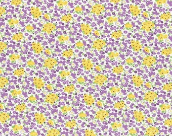 Sale Purple and Yellow Tiny Floral Bouquet Print from the 1930's Collection by Lecien Fabrics
