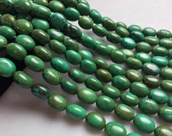 Dark Green Turquoise Oval Gemstone Loose Beads Size Approx 13x18mm 15.5 Inches per Strand. R-M-TUR-0375